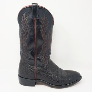 Laredo Mens Cowboy Western Black Red Leather Boots
